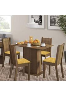 Conjunto De Mesa Com 4 Cadeiras Lexy Rustic E Palha