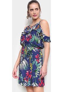 Vestido Curto Pérola Evasê Open Shoulder Tropical - Feminino-Marinho