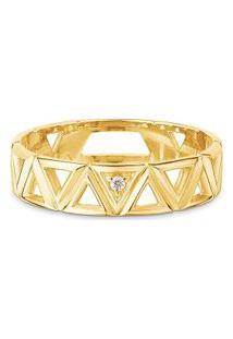 Anel Icona Ouro Amarelo E Diamantes Pequeno