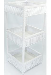 Organizador Quadrado Multiuso/ Fruteira 3 Andares 35X35X75 - Branco