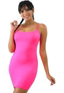 Vestido Tubinho Com Alcinha Neon - Feminino-Rosa