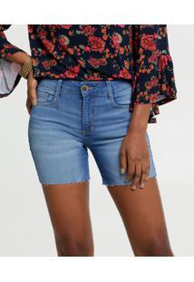 Bermuda Feminina Jeans Stretch Barra Desfiada Marisa