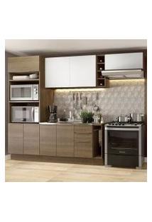 Cozinha Completa Madesa Stella 290002 Com Armário E Balcão Rustic/Branco Cor:Rustic/Rustic/Branco
