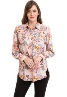 Camisa Kinara Crepe Floral Feminina - Feminino-Rosa