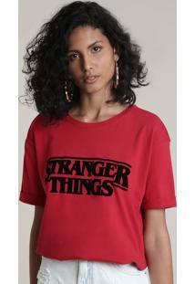 Blusa Feminina Stranger Things Manga Curta Decote Redondo Vermelho