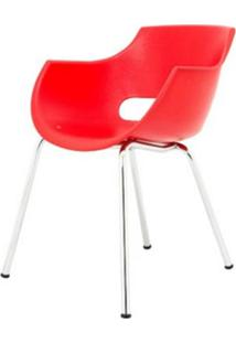 Cadeira Frida Base Fixa Cromada Cor Vermelho