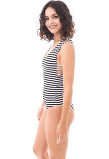 Body Moda Vício Com Tiras Na Lateral Listrado Branco