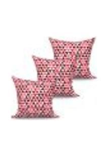 Conjunto De Capas De Almofadas Com 3 Peças Triângulo Vermelho 45X45 Cm