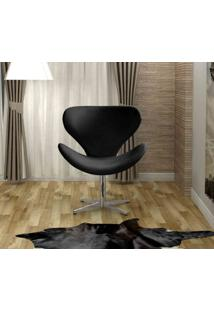 Poltrona Swan Base Giratoria Aluminio Bella Decor -Preto