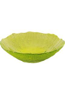 Saladeira Dunya De Vidro Verde 17Cm - Infinity Amarelo - Kanui