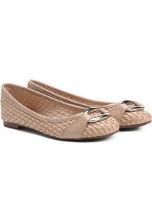 Sapatilha Couro Shoestock Tressê Feminina - Feminino-Bege
