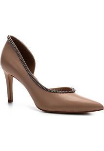 Scarpin Couro Shoestock Salto Glam Bride - Feminino-Nude