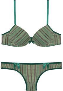 Conjunto Femina Lingerie Sutiã Convencional Calcinha Bíquini Verde