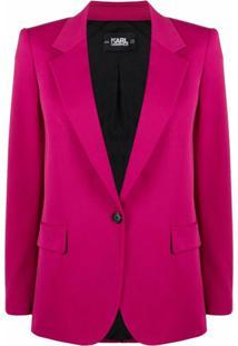 Karl Lagerfeld Blazer De Alfaiataria Com Abotoamento Simples - Rosa