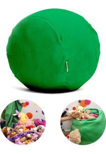 Puff Organizador Quartinhos Infantil Para Bichos De Pelúcia Verde