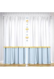 Cortina Quarto Beb㪠Azul E Amarelo 2,30M Grã£O De Gente Amarelo - Amarelo - Dafiti