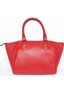 Bolsa Em Couro Com Barbicacho- Vermelha- 22X30X17Cmmr. Cat