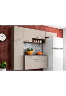 Cozinha Compacta Suspensa Com Balcáo Anita 08 Portas Capuccino/Amêndoa - Poquema - Tricae