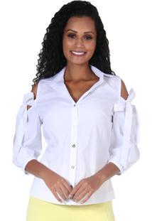 Camisa Romaria Abertura No Ombro Branca