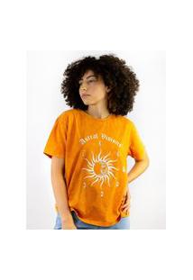 Camiseta Estampada Sol Laranja, Cor: Laranja, Tamanho: Pp Laranja