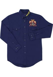 Camisa Detalhes Wrangler Azul