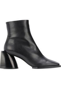 Nº21 Ankle Boot Com Bico Quadrado - Preto