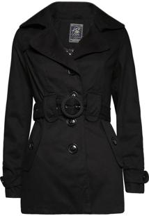 Trench Coat Khelf Botões Preto