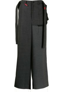 Maison Mihara Yasuhiro Calça Pantalona Com Sobreposição - Cinza