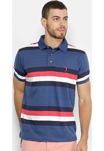 Camisa Polo Aleatory Estampa Listrada Masculina - Masculino-Azul+Vermelho
