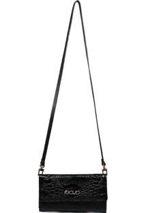 Bolsa Carteira Em Couro Recuo Fashion Bag Croco Preto - Preto - Feminino - Dafiti
