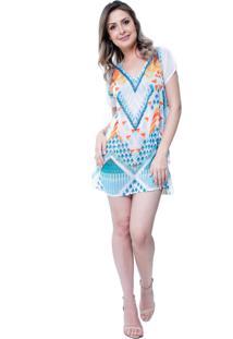 Blusa Estampada 101 Resort Wear Tunica Saida De Praia Decote V Fendas Geométrica Branca