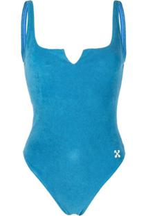 Off-White Arrow Patch Swimsuit - Azul