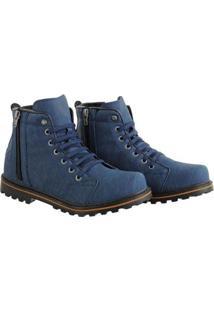 Bota Coturno Sapatofran Zíper Masculino - Masculino-Azul