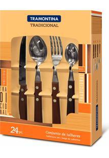 Conjunto De Talheres 24 Peças Cabo Madeira 22299050 Tramontina
