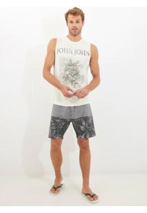 Bermuda John John D'Água Grayscale Beachwear Estampado Masculina (Estampado, 40)