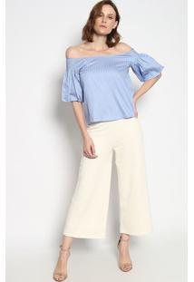 Blusa Ciganinha Listrada Com Franzidos- Azul Claro & Braenna