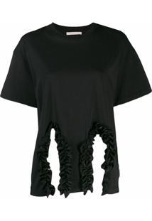 Christopher Kane Camiseta Com Acabamento De Babados - Preto