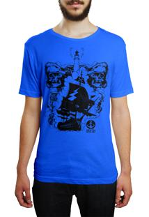 Camiseta Hshop Pirata - Azul Turquesa