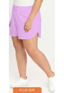 Shorts Com Cordão Para Amarração Roxo