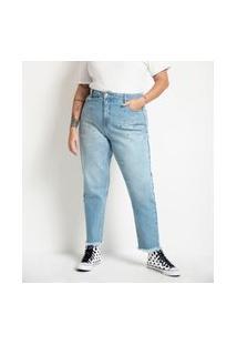 Calça Mom Em Jeans Com Tachas Curve & Plus Size Azul