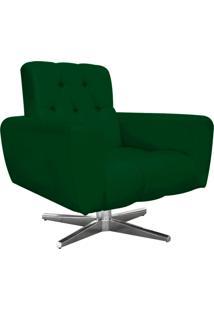 Poltrona Decorativa Pietra Suede Verde Com Base Estrela Giratória Em Aço Cromado - D'Rossi