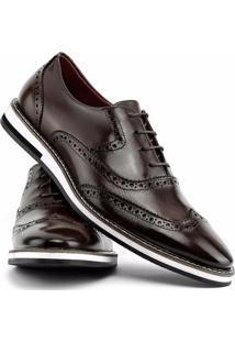 Sapato Social Gofer Com Cadarço Solado De Couro Masculino - Masculino-Marrom