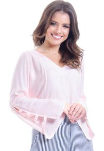Blusa 101 Resort Wear Tunica Decote V Viscose Rosa