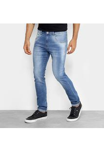 Calça Jeans Skinny Rock & Soda Estonada Suave Cintura Média Masculina - Masculino-Azul