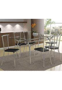 Mesa 379 Com Vidro Incolor Cromada Com 6 Cadeiras 154 Preta Carraro
