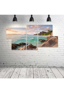 Quadro Decorativo - La-Digue-Beach-Seychelles - Composto De 5 Quadros
