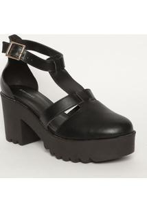 Sapato Meia Pata Tratorado- Preta- Salto: 8Cmmya Haas