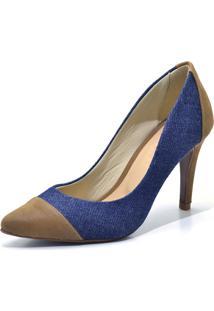 Scarpin Flor Da Pele Cap Toe Jeans Azul Marinho - Kanui