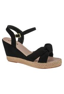 Sandália Anabela Feminina Preta Laço Plataforma Sapato Joys