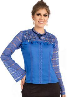 Blusa Miss Lady Viscose Com Guipir E Bordados Azul